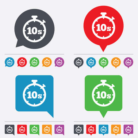 seconds: Timer 10 seconds sign icon. Stopwatch symbol. Speech bubbles information icons. 24 colored buttons. Vector