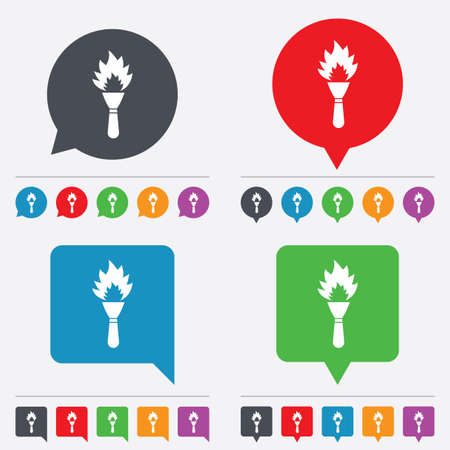 torch flame: Torch flame sign icon. Fire flaming symbol. Speech bubbles information icons. 24 colored buttons. Vector