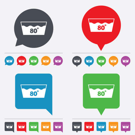 washbowl: Wash icon. Machine washable at 80 degrees symbol. Speech bubbles information icons. 24 colored buttons. Vector