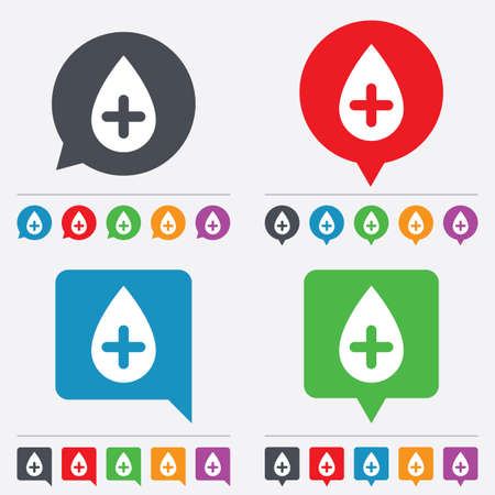 Water drop with plus sign icon. Softens water symbol. Speech bubbles information icons. 24 colored buttons. Vector Illustration