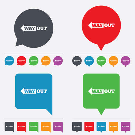 Way out left sign icon. Arrow symbol. Speech bubbles information icons. 24 colored buttons. Vector Vector