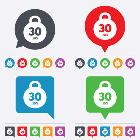 kg: Weight sign icon. 30 kilogram (kg). Sport symbol. Fitness. Speech bubbles information icons. 24 colored buttons. Vector