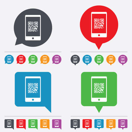 Qr code sign icon. Scan code in smartphone symbol. Coded word - success! Speech bubbles information icons. 24 colored buttons.  Vector