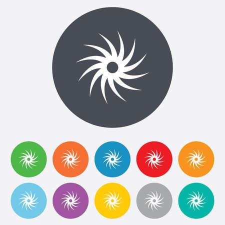 cutting blade: Sierra circular icono de la muestra de la rueda. Cortar s�mbolo de la cuchilla. Ronda de colores 11 botones. Vector