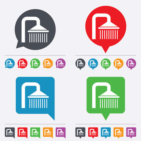 douche: Shower sign icon. Douche with water drops symbol. Speech bubbles information icons. 24 colored buttons. Vector Illustration