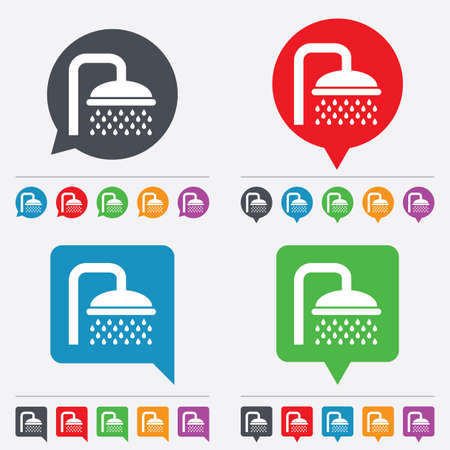 Shower sign icon. Douche with water drops symbol. Speech bubbles information icons. 24 colored buttons. Vector Vector