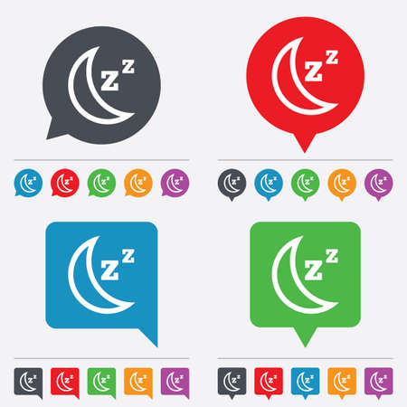 standby: Sleep sign icon. Moon with zzz button. Standby. Speech bubbles information icons. 24 colored buttons. Vector Illustration
