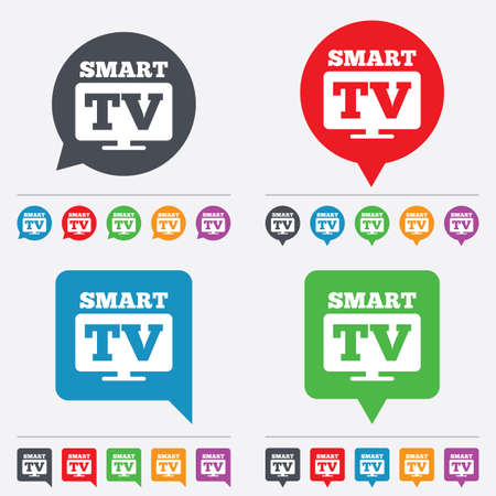 television set: Widescreen Smart TV sign icon. Television set symbol. Speech bubbles information icons. 24 colored buttons. Vector