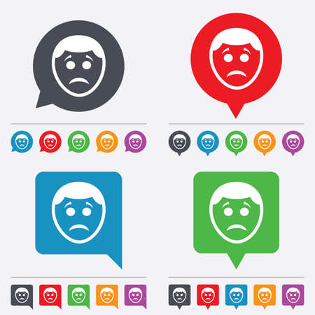sad face: Sad face sign icon. Sadness depression chat symbol. Speech bubbles information icons. 24 colored buttons. Vector