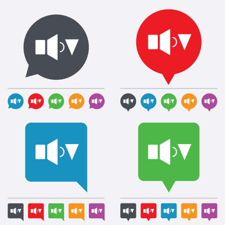Speaker low volume sign icon. Sound symbol. Speech bubbles information icons. 24 colored buttons. Vector Vector