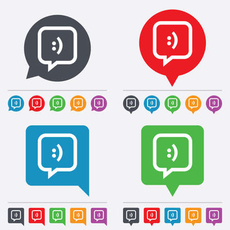 Chat sign icon. Speech bubble with smile symbol. Communication chat bubbles. Speech bubbles information icons. 24 colored buttons. Vector Vector