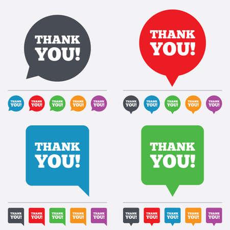 gratitudine: Grazie firmare icona. Simbolo Gratitudine. Bolle di discorso icone informative. 24 pulsanti colorati. Vettore