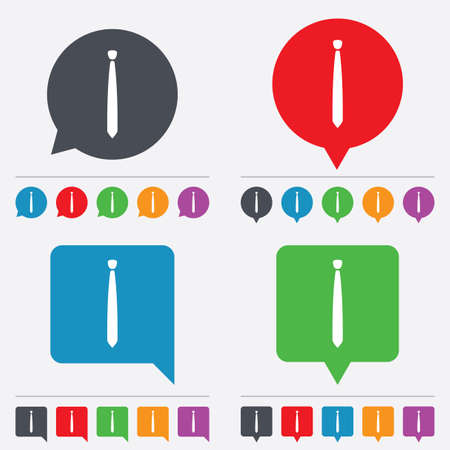 official wear: Tie slim sign icon. Business clothes symbol. Speech bubbles information icons. 24 colored buttons. Vector