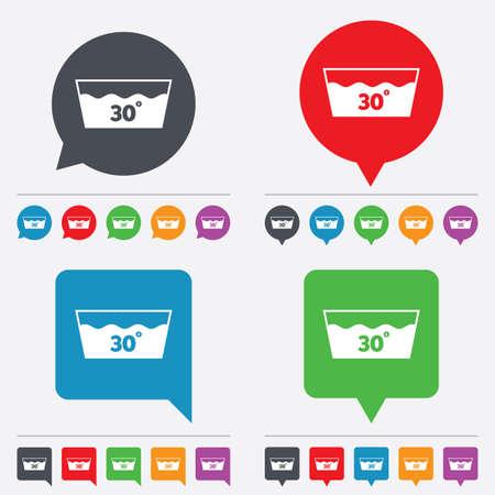 washable: Icono Wash. Lavar a m�quina a 30 grados s�mbolo. Burbujas del discurso iconos de informaci�n. 24 botones de colores. Vector