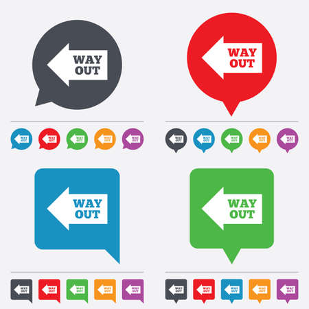 Way out left sign icon.  Vector