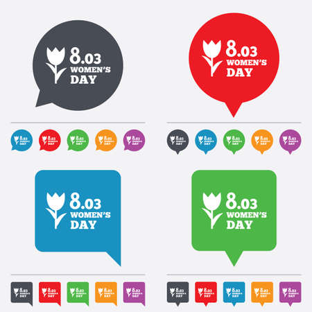 8 March Womens Day sign icon. Flower symbol. Speech bubbles information icons. 24 colored buttons. Vector Vector