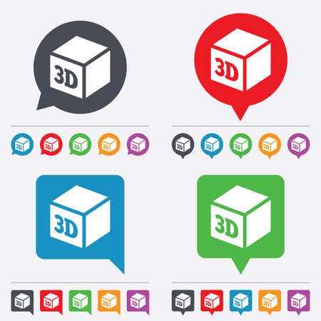 additive manufacturing: 3D Print sign icon. 3d cube Printing symbol. Additive manufacturing. Speech bubbles information icons. 24 colored buttons. Vector