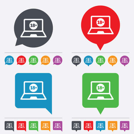 Adults content laptop sign icon. Website for adults only symbol. Warning. Speech bubbles information icons. 24 colored buttons. Vector Vector