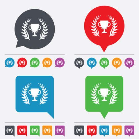 First place cup award sign icon. Prize for winner symbol. Laurel Wreath. Speech bubbles information icons. 24 colored buttons. Vector Illustration