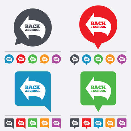 Back to school sign icon. Back 2 school symbol. Speech bubbles information icons. 24 colored buttons. Vector Vector