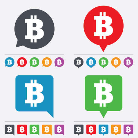 p2p: Bitcoin sign icon. Cryptography currency symbol. P2P. Speech bubbles information icons. 24 colored buttons. Vector Illustration