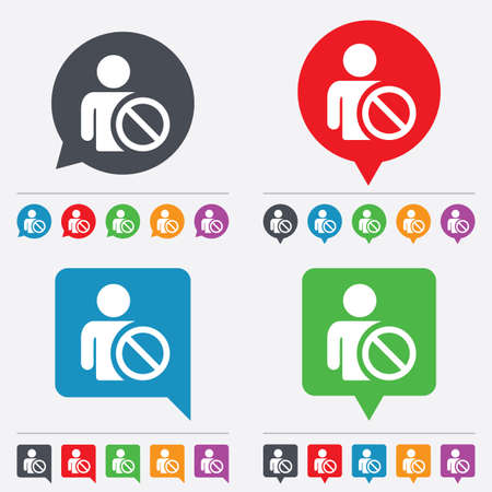 blacklist: Blacklist sign icon. User not allowed symbol. Speech bubbles information icons. 24 colored buttons. Vector Illustration