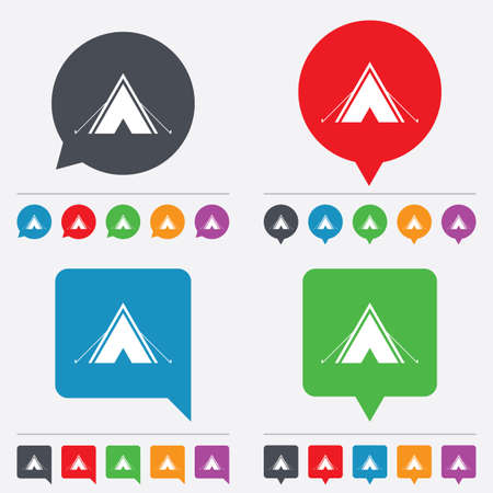 Tourist tent sign icon. Camping symbol. Speech bubbles information icons. 24 colored buttons. Vector Vector