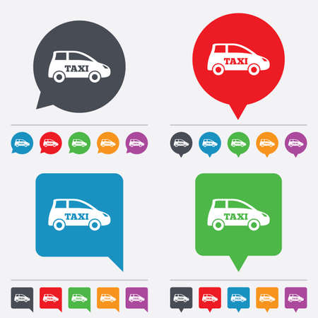 Taxi car sign icon. Hatchback symbol. Transport. Speech bubbles information icons. 24 colored buttons. Vector Vector