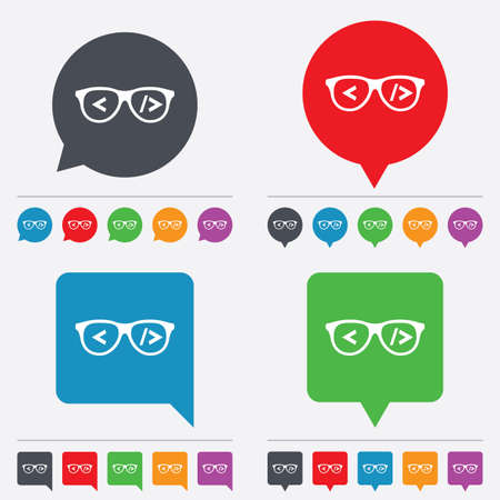 coder: Coder sign icon. Programmer symbol. Glasses icon. Speech bubbles information icons. 24 colored buttons. Vector