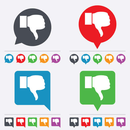 Dislike sign icon. Thumb down sign. Hand finger down symbol. Speech bubbles information icons. 24 colored buttons. Vector Vector
