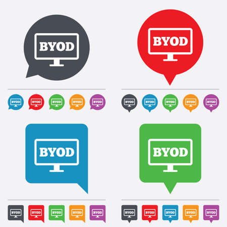 bring: BYOD sign icon. Bring your own device symbol. Monitor tv icon. Speech bubbles information icons. 24 colored buttons. Vector Illustration