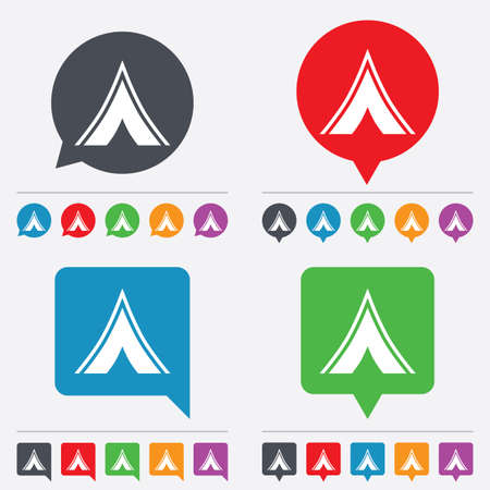 tourist information: Tourist tent sign icon. Camping symbol. Speech bubbles information icons. 24 colored buttons. Vector
