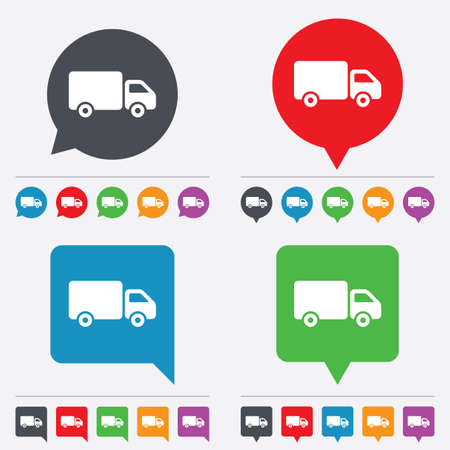 cargo van: Delivery truck sign icon. Cargo van symbol. Speech bubbles information icons. 24 colored buttons. Vector