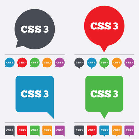 css3: CSS3 sign icon. Cascading Style Sheets symbol. Speech bubbles information icons. 24 colored buttons. Vector