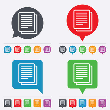 duplicate: Copy file sign icon. Duplicate document symbol. Speech bubbles information icons. 24 colored buttons. Vector