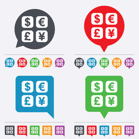 currency converter: Currency exchange sign icon. Currency converter symbol. Money label. Speech bubbles information icons. 24 colored buttons. Vector