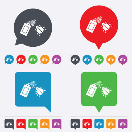acarus: Bug disinfection sign icon. Fumigation symbol. Bug sprayer. Speech bubbles information icons. 24 colored buttons. Vector