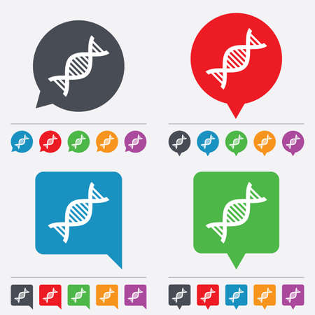 deoxyribonucleic: DNA sign icon. Deoxyribonucleic acid symbol. Speech bubbles information icons. 24 colored buttons. Vector Illustration