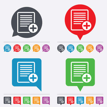 Text file sign icon. Add File document symbol. Speech bubbles information icons. 24 colored buttons. Vector Vector