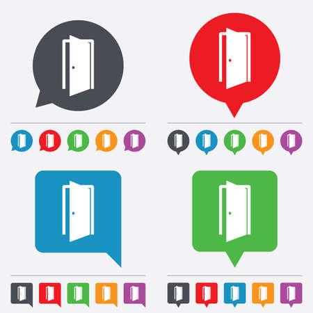 door sign: Door sign icon. Enter or exit symbol. Internal door. Speech bubbles information icons. 24 colored buttons. Vector