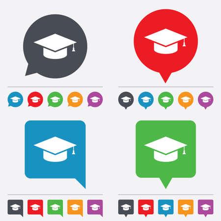 graduation hat: Graduation cap sign icon. Higher education symbol. Speech bubbles information icons. 24 colored buttons. Vector