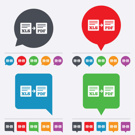 xls: Export XLS to PDF icon. File document symbol. Speech bubbles information icons. 24 colored buttons. Vector