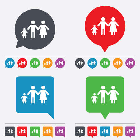 family with one child: Family with one child sign icon. Complete family symbol. Speech bubbles information icons. 24 colored buttons. Vector