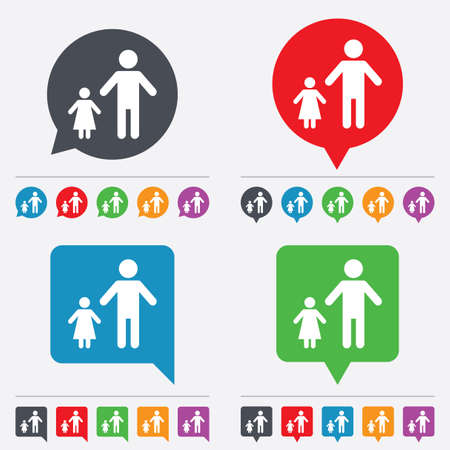 family with one child: One-parent family with one child sign icon. Father with daughter symbol. Speech bubbles information icons. 24 colored buttons. Vector