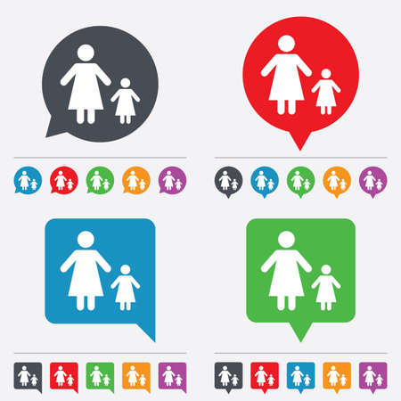 family with one child: One-parent family with one child sign icon. Mother with daughter symbol. Speech bubbles information icons. 24 colored buttons. Vector Illustration