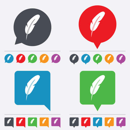 Feather sign icon. Retro pen symbol. Light weight symbol. Speech bubbles information icons. 24 colored buttons. Vector Vector