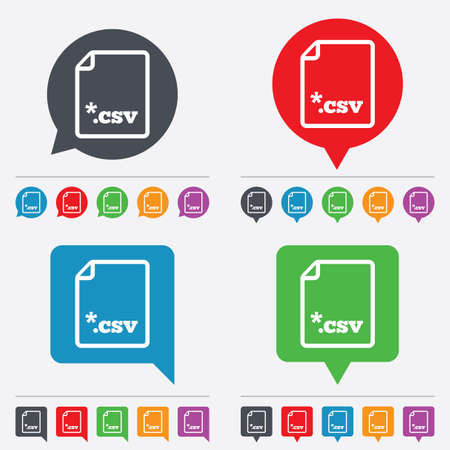 csv: File document icon. Download tabular data file button. CSV file extension symbol. Speech bubbles information icons. 24 colored buttons. Vector Illustration