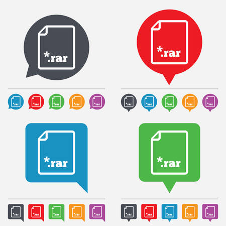 file extension: Archive file icon. Download compressed file button. RAR zipped file extension symbol. Speech bubbles information icons. 24 colored buttons. Vector
