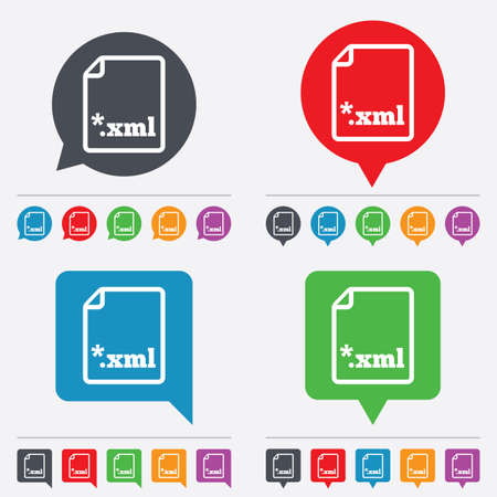File document icon. Download XML button. XML file extension symbol. Speech bubbles information icons. 24 colored buttons. Vector