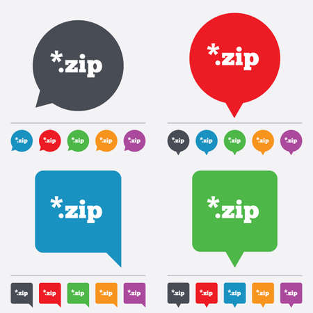 zipped: Archive file icon. Download compressed file button. ZIP zipped file extension symbol. Speech bubbles information icons. 24 colored buttons. Vector Illustration